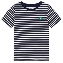 Wood Wood Navy / Off White Stripes Double A Ola T-skjorte for barn