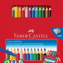 Faber Castell Jumbo Grip Combibox 12 Pencils+10 Pens