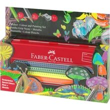 Faber Castell Jumbo Grip Tin Giftbox 10 Pencils Neon/Metallic