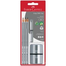 Faber Castell Grip 2001 Pencils+Twin Sharpener Silver