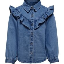 Kids ONLY Medium Blue Denim Allison Frill skjorte