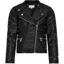 Kids ONLY Black Freya Studded Faux Leather Biker Jakke