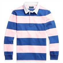 Polo Ralph Lauren Boy Long Sleeve Rugby Blouse Bright Navy/Camel Pink
