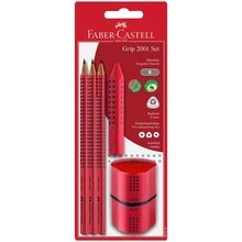 Faber Castell Grip 2001 Pencils+Twin Sharpener Red