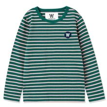 Wood Wood Rose Stripes / Faded Green Kim Langermet bluse for barn